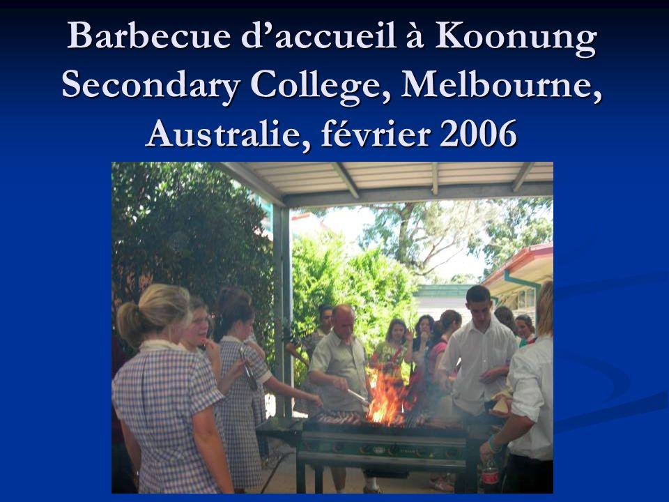Barbecue d'accueil à Koonung Secondary College, Melbourne, Australie, février 2006