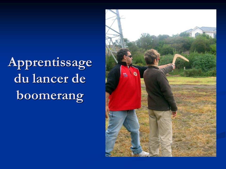 Apprentissage du lancer de boomerang