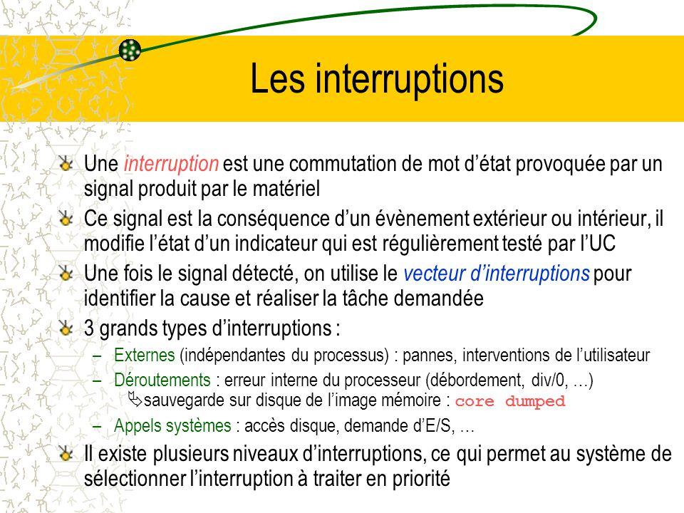 Les interruptions Une interruption est une commutation de mot d'état provoquée par un signal produit par le matériel.
