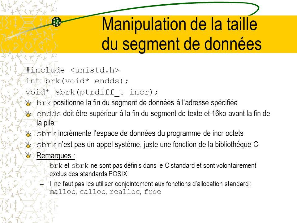 Manipulation de la taille du segment de données