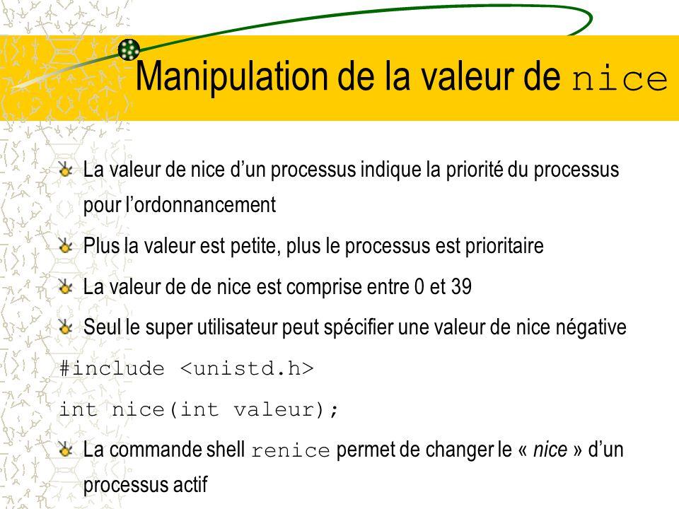 Manipulation de la valeur de nice