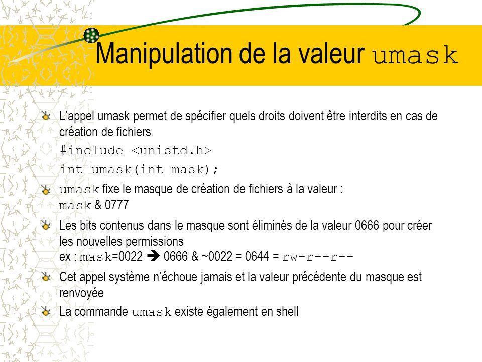 Manipulation de la valeur umask