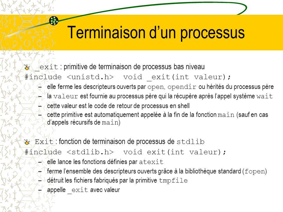 Terminaison d'un processus