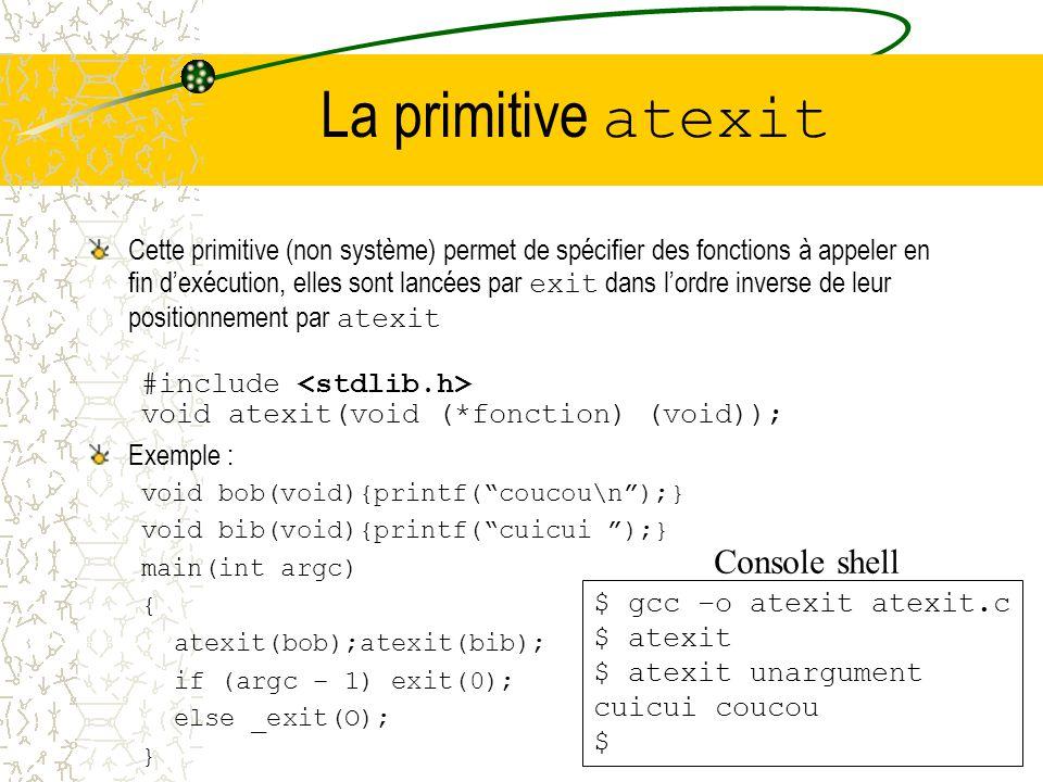 La primitive atexit Console shell
