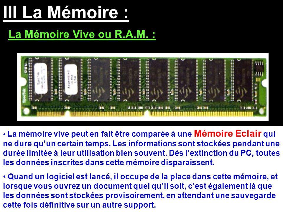 III La Mémoire : La Mémoire Vive ou R.A.M. :