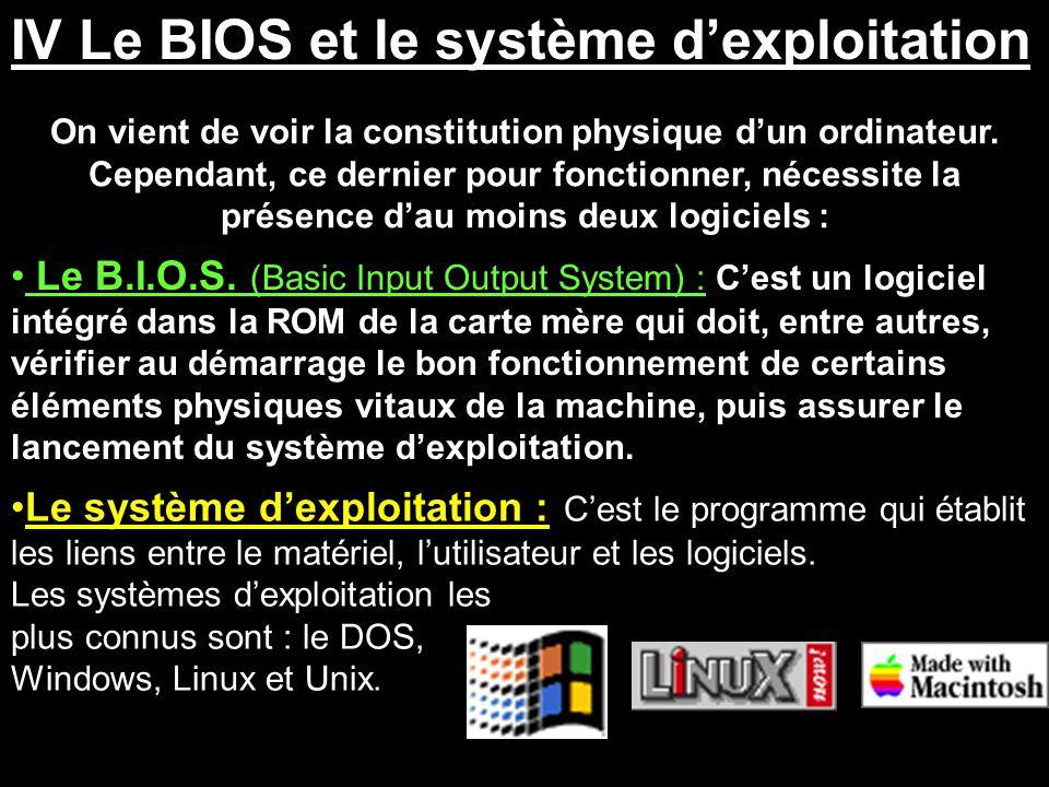 IV Le BIOS et le système d'exploitation
