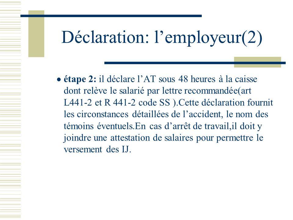 Déclaration: l'employeur(2)