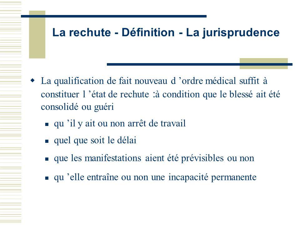 La rechute - Définition - La jurisprudence