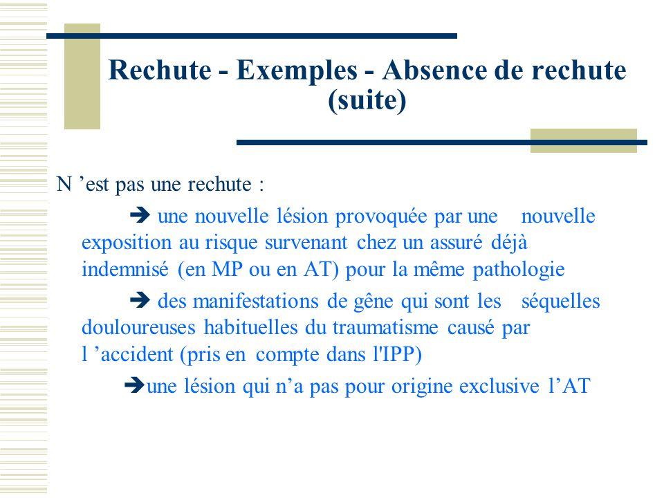 Rechute - Exemples - Absence de rechute (suite)