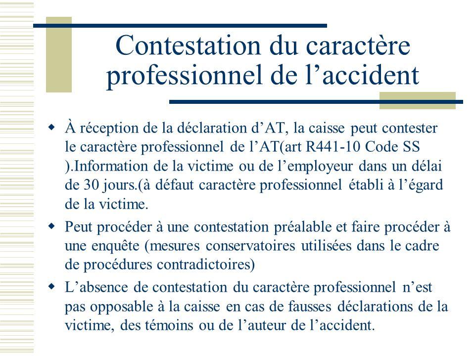Contestation du caractère professionnel de l'accident