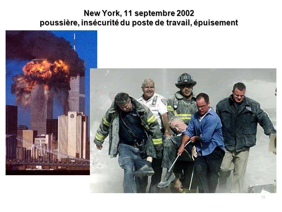 New York, 11 septembre 2002 poussière, insécurité du poste de travail, épuisement