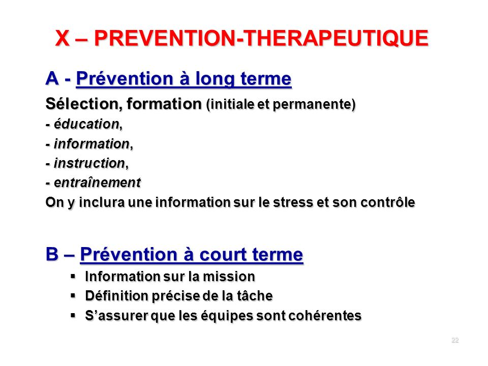 X – PREVENTION-THERAPEUTIQUE