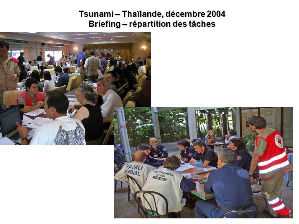 Tsunami – Thaïlande, décembre 2004 Briefing – répartition des tâches
