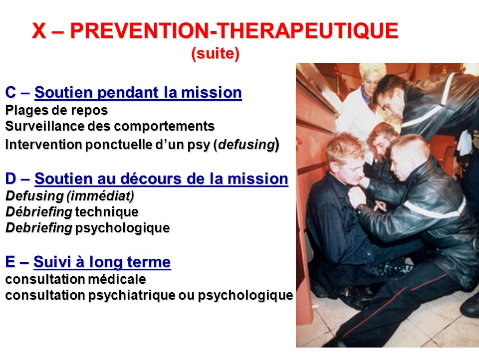 X – PREVENTION-THERAPEUTIQUE (suite)