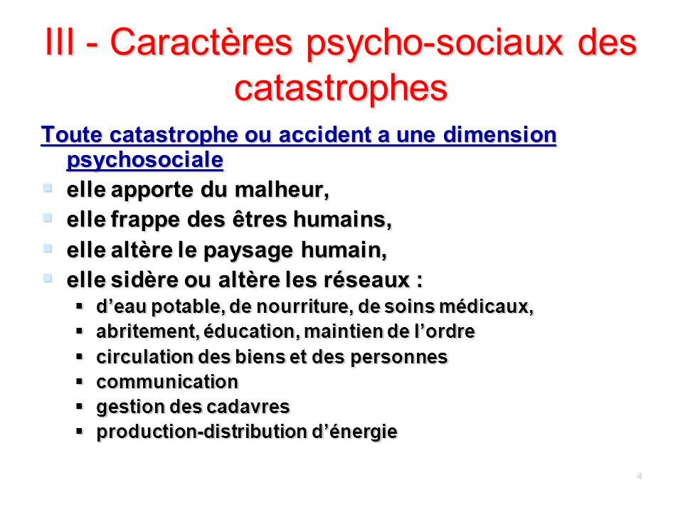 III - Caractères psycho-sociaux des catastrophes