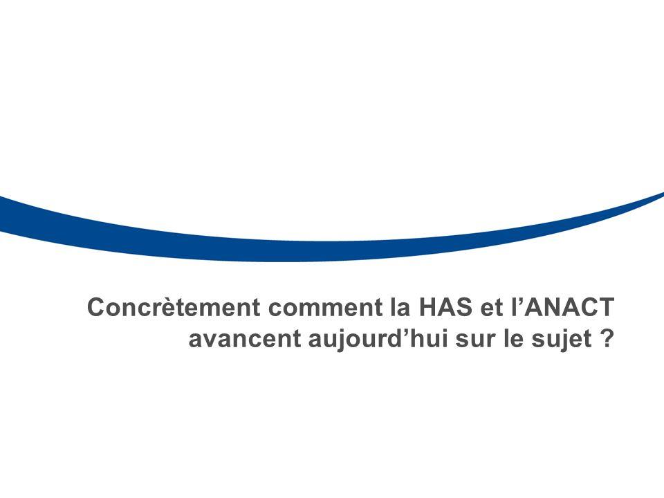 Concrètement comment la HAS et l'ANACT avancent aujourd'hui sur le sujet