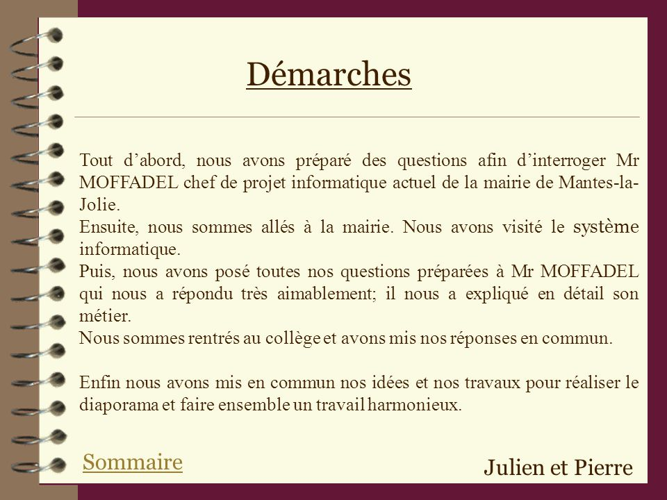 Démarches Sommaire Julien et Pierre