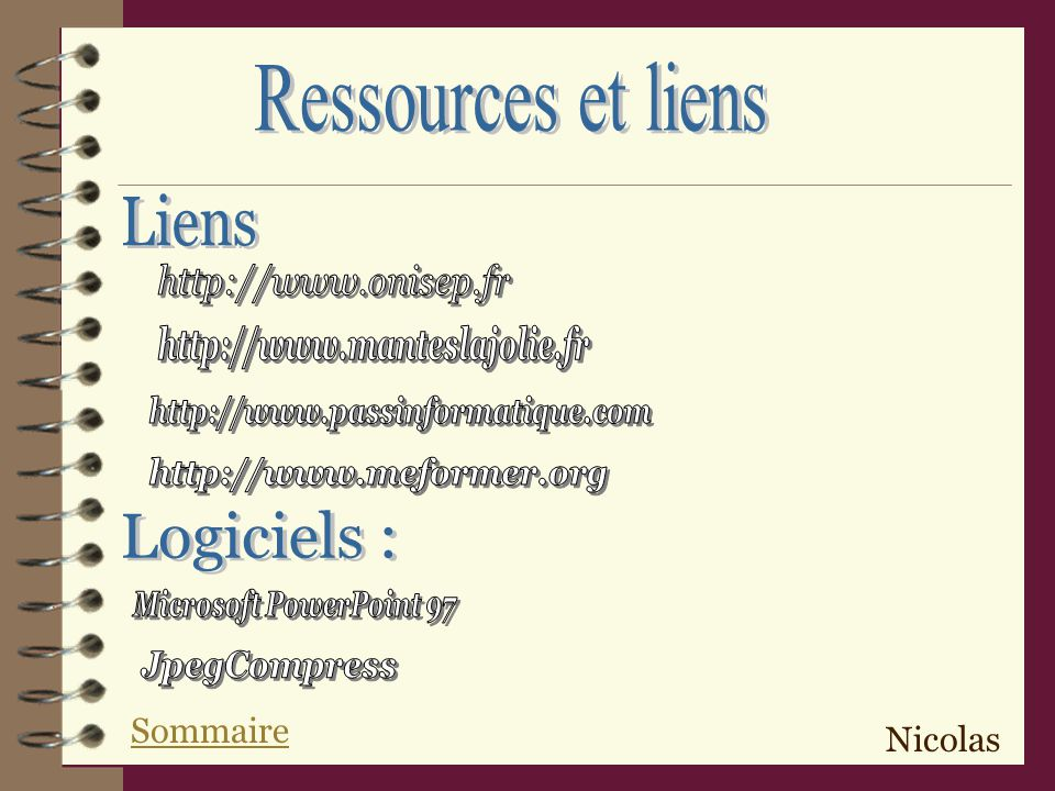 Ressources et liens Liens http://www.onisep.fr