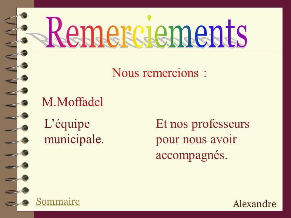 Remerciements Nous remercions : M.Moffadel L'équipe municipale.