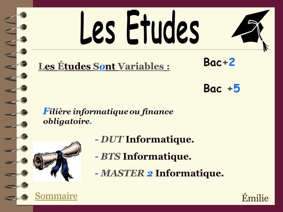 Les Etudes Bac+2 Bac +5 Les Études Sont Variables :