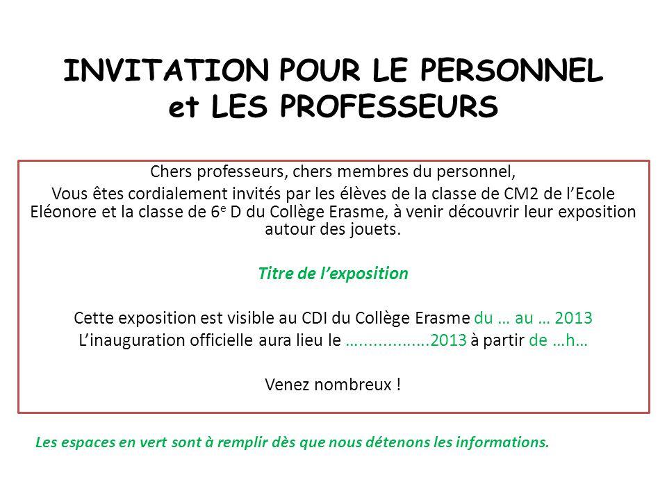 INVITATION POUR LE PERSONNEL et LES PROFESSEURS