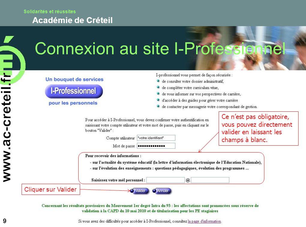 Connexion au site I-Professionnel