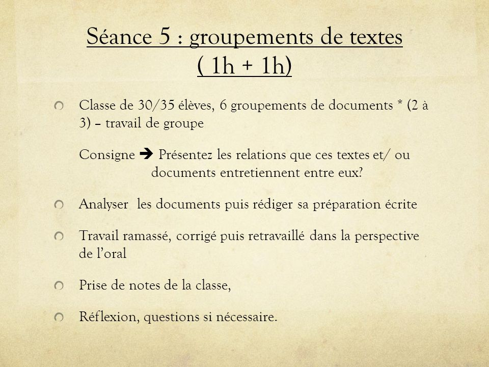 Séance 5 : groupements de textes ( 1h + 1h)