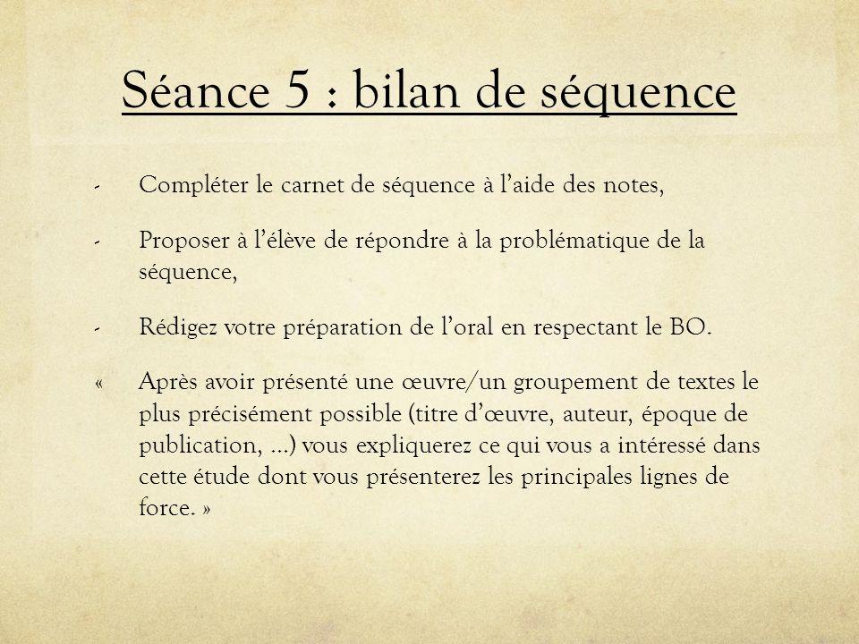 Séance 5 : bilan de séquence
