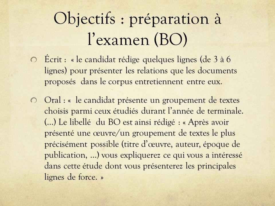 Objectifs : préparation à l'examen (BO)