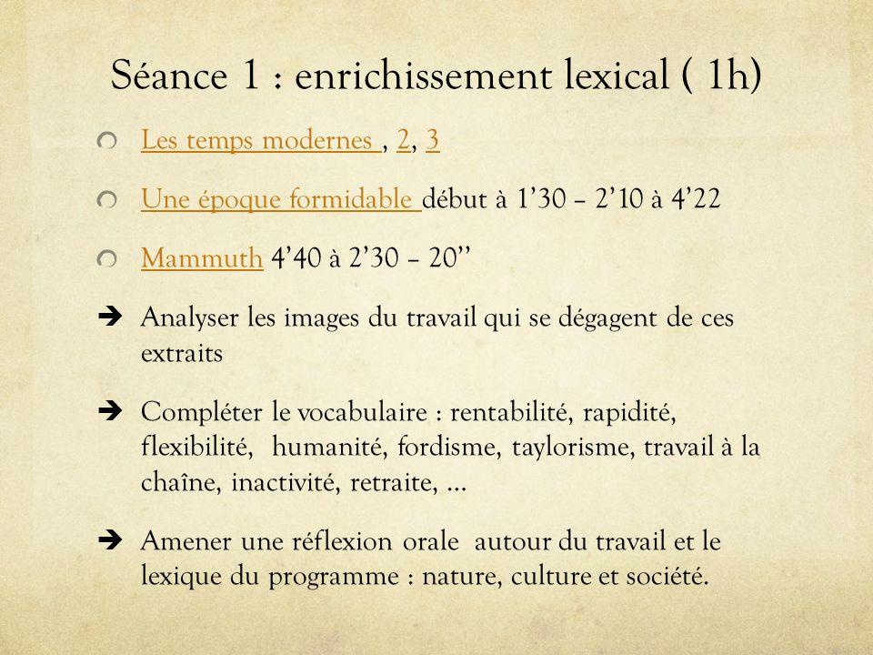 Séance 1 : enrichissement lexical ( 1h)