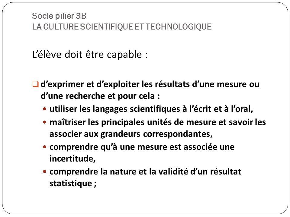 Socle pilier 3B LA CULTURE SCIENTIFIQUE ET TECHNOLOGIQUE
