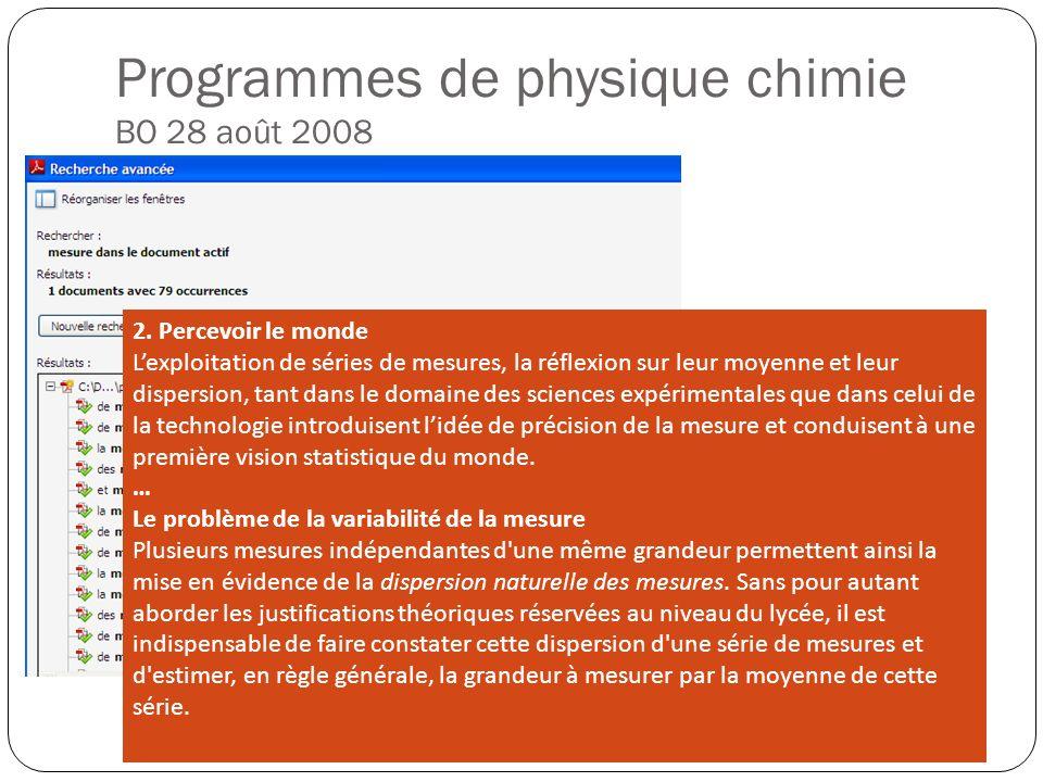 Programmes de physique chimie BO 28 août 2008