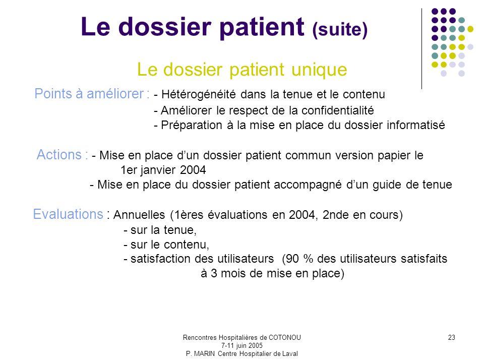 Le dossier patient (suite)