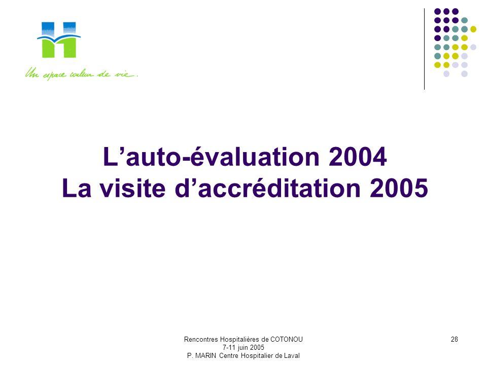 L'auto-évaluation 2004 La visite d'accréditation 2005