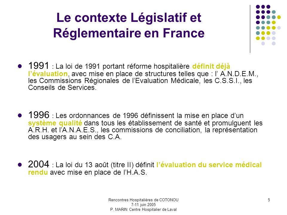 Le contexte Législatif et Réglementaire en France