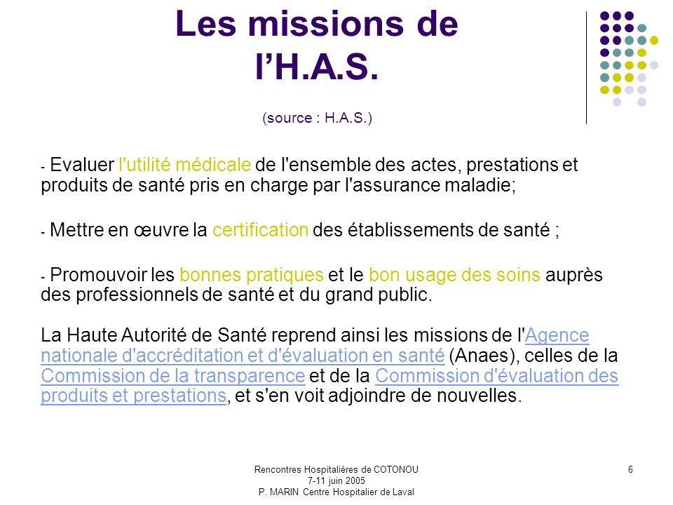 Les missions de l'H.A.S. (source : H.A.S.)