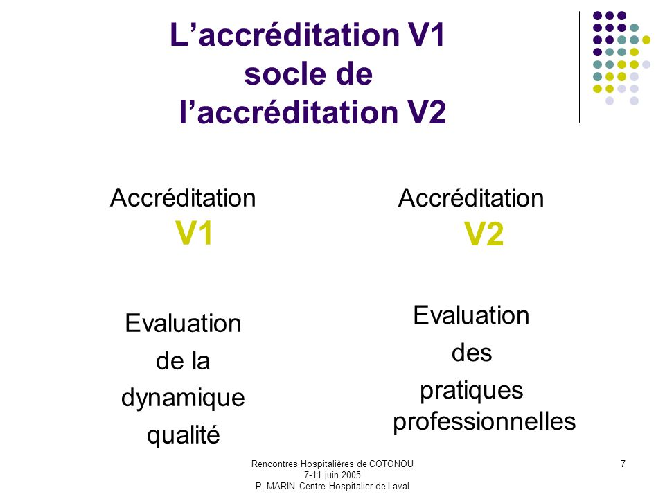 L'accréditation V1 socle de l'accréditation V2