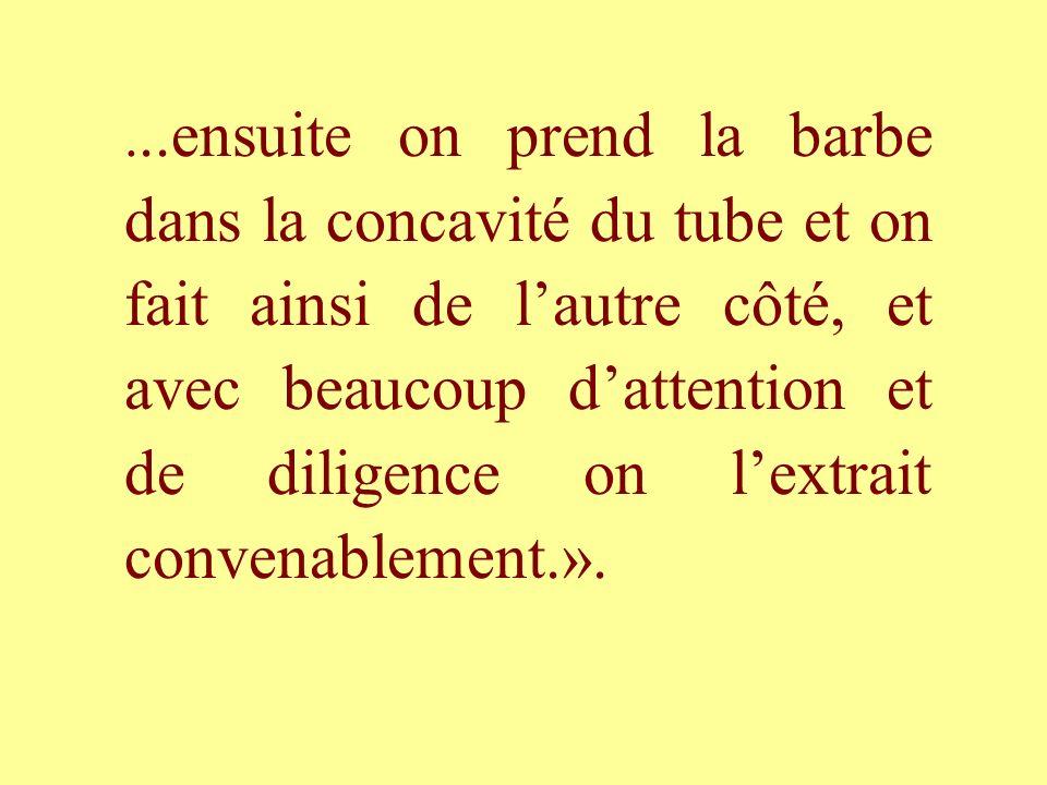 ...ensuite on prend la barbe dans la concavité du tube et on fait ainsi de l'autre côté, et avec beaucoup d'attention et de diligence on l'extrait convenablement.».