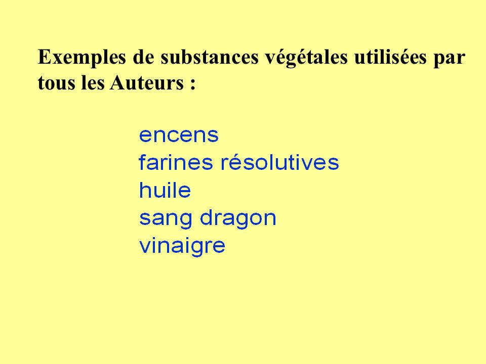 Exemples de substances végétales utilisées par tous les Auteurs :