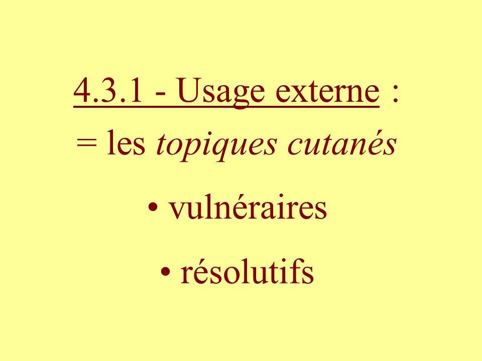 4.3.1 - Usage externe : = les topiques cutanés vulnéraires résolutifs