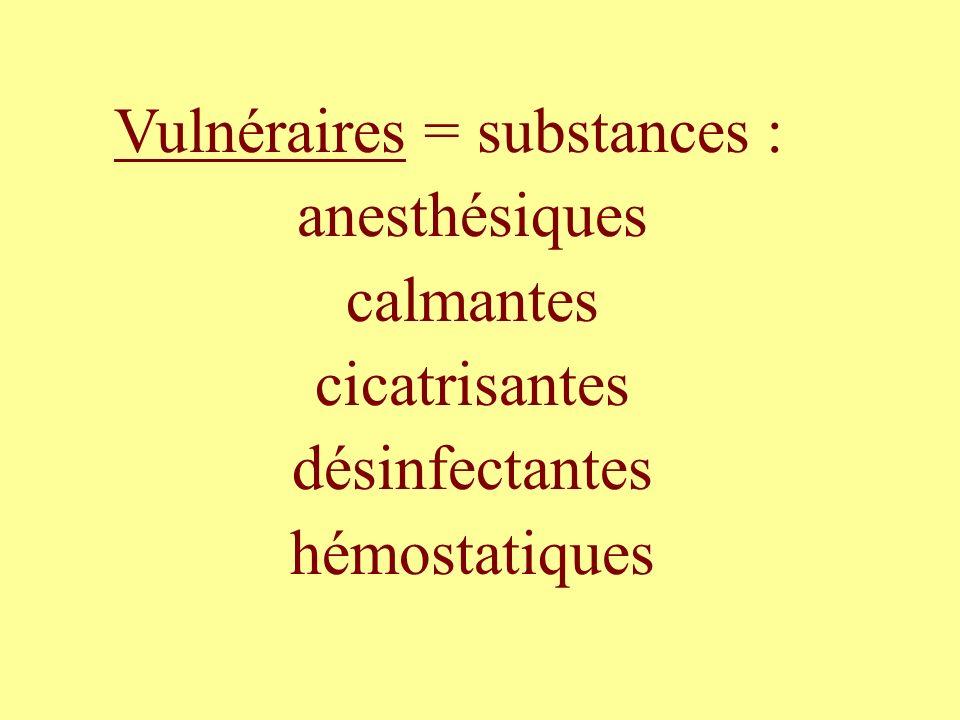 Vulnéraires = substances :