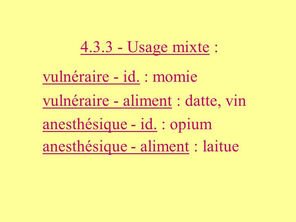 4.3.3 - Usage mixte : vulnéraire - id. : momie. vulnéraire - aliment : datte, vin. anesthésique - id. : opium.