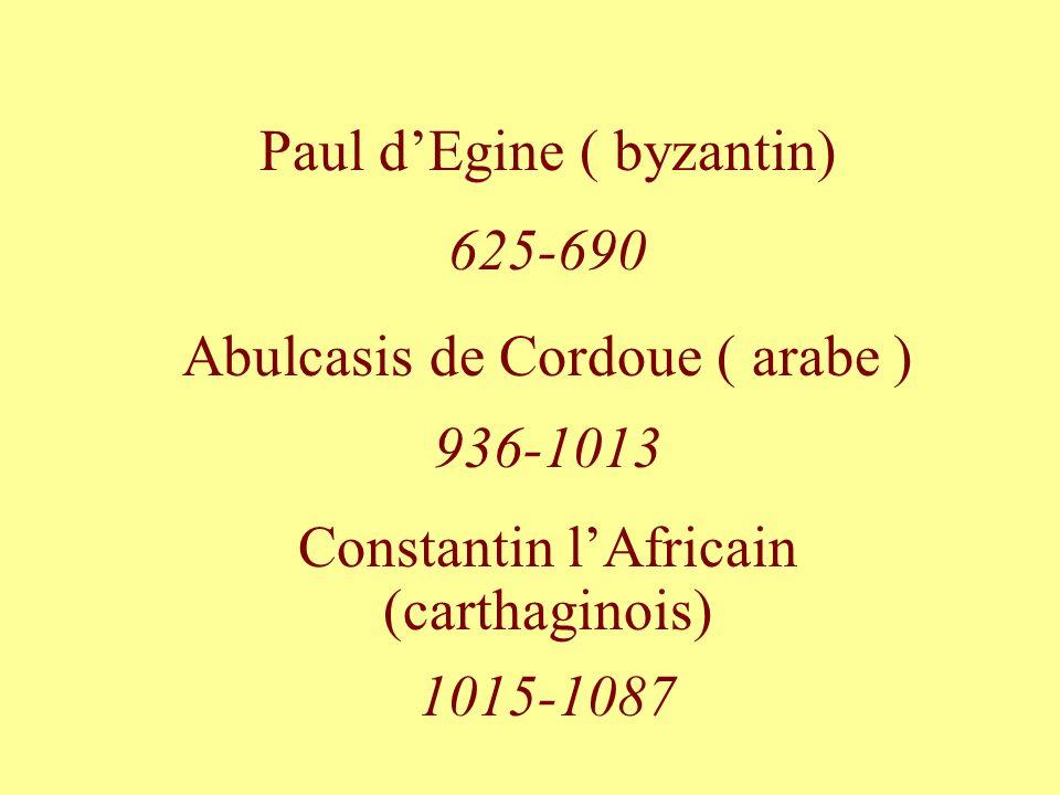Paul d'Egine ( byzantin) 625-690 Abulcasis de Cordoue ( arabe )