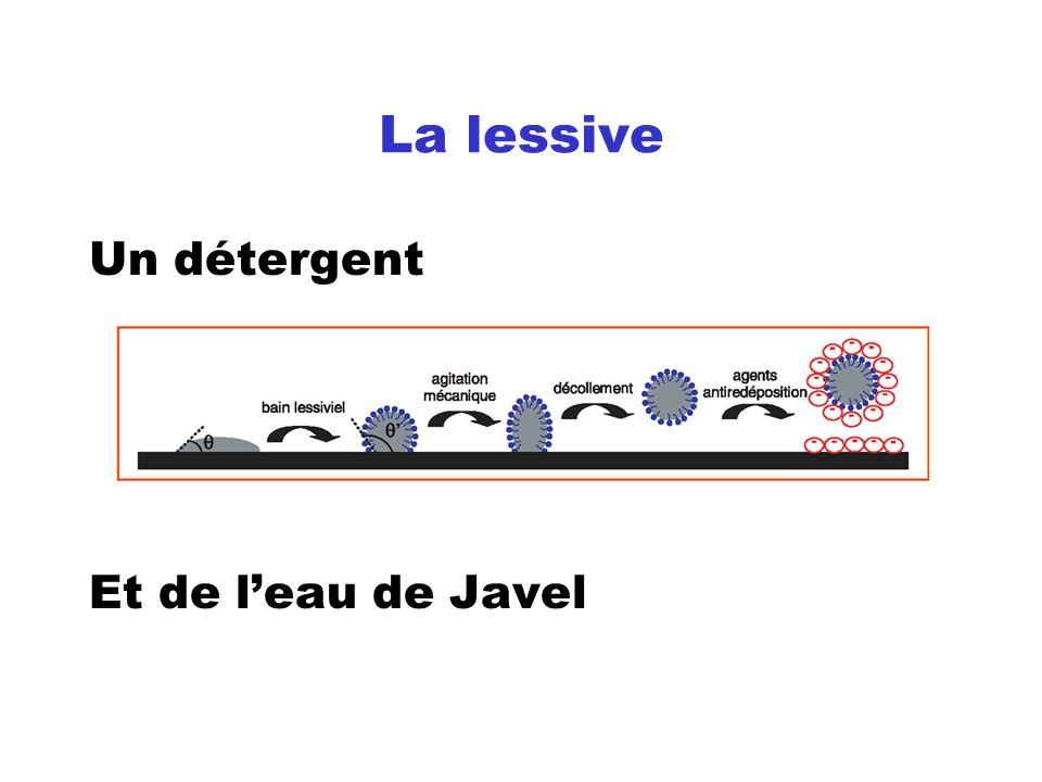 La lessive Un détergent Et de l'eau de Javel