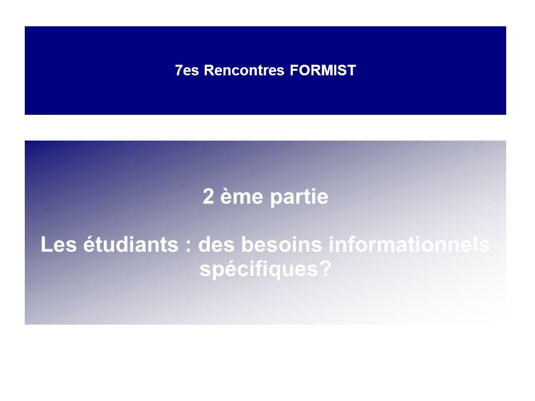 Les étudiants : des besoins informationnels spécifiques