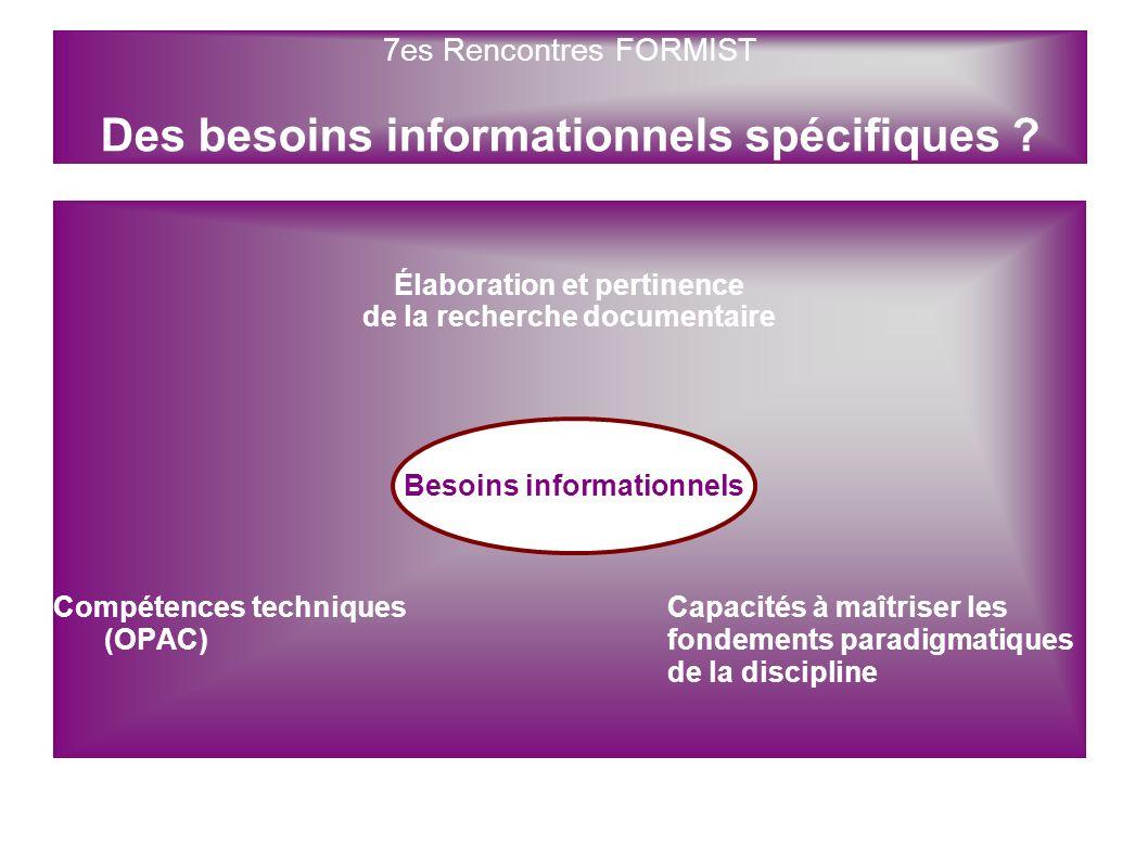 7es Rencontres FORMIST Des besoins informationnels spécifiques