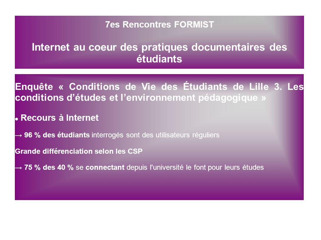 7es Rencontres FORMIST Internet au coeur des pratiques documentaires des étudiants
