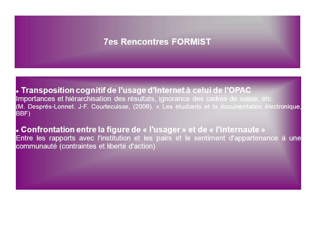 7es Rencontres FORMIST Transposition cognitif de l usage d Internet à celui de l OPAC.