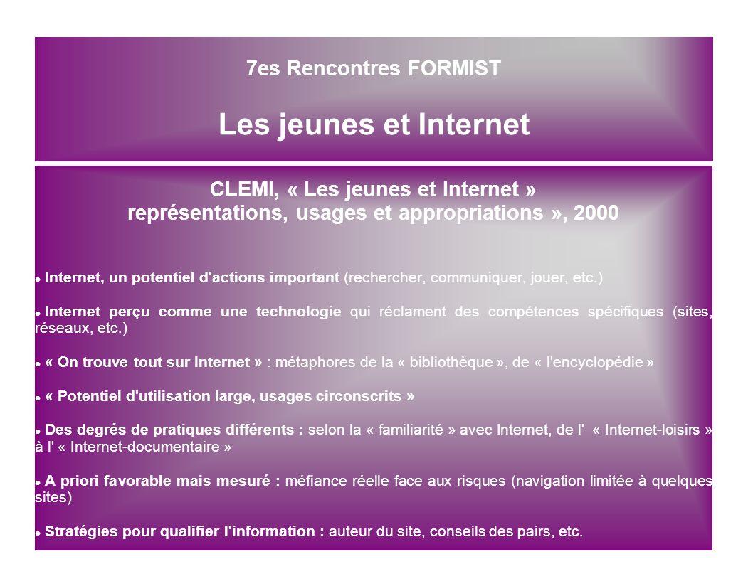 7es Rencontres FORMIST Les jeunes et Internet