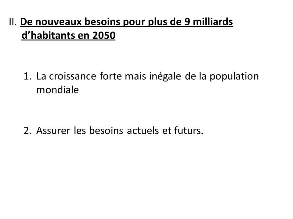 II. De nouveaux besoins pour plus de 9 milliards d'habitants en 2050